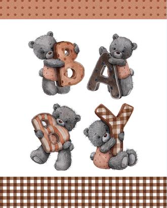 Мишка с буквами (купон 112х150) арт. ПРКГ-59-1-1350.020