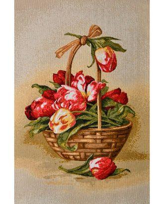 Корзина тюльпанов (купон гобеленовый) арт. КГ-19-1-1614.011