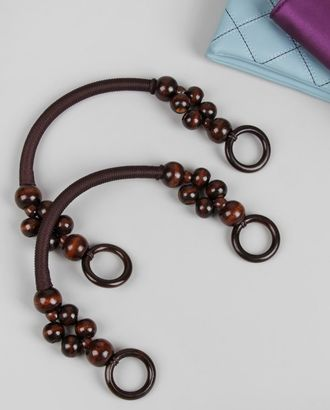 Ручки для сумки вощёный шнур/дерево арт. ДСБР-2-1-36220