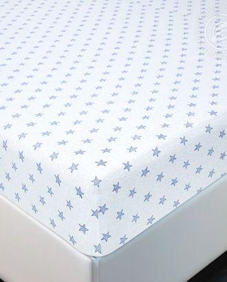 Простыня трик. на резинке звёзды голубые арт. АРТД-2581-1-АРТД0241551