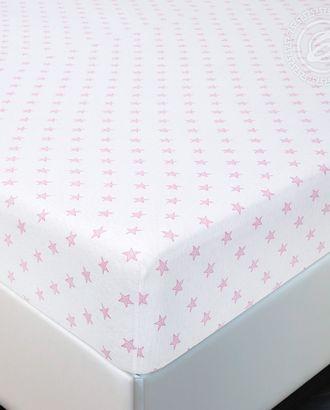 Простыня трик. на резинке 90*200 звёзды розовые арт. АРТД-2582-1-АРТД0241553