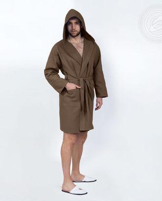 Коричневый халат банный c капюшоном мод. 012.16.11 раз 2xl/3xl арт. АРТД-1382-1-АРТД0247216