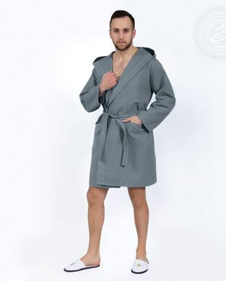 Серый халат банный c капюшоном мод. 012.16.11 раз 2xl/3xl арт. АРТД-1415-1-АРТД0247607