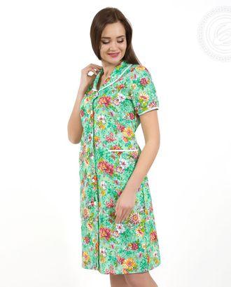 Цветник зеленый халат жен. на пуговицах с рукавом 03.15.03 раз 46 арт. АРТД-1543-1-АРТД0248956
