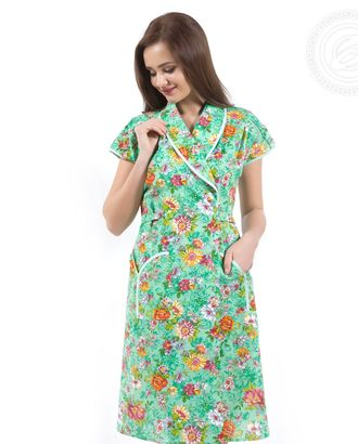 Цветник зеленый халат женский с запахом мод. 02.15.03 раз 46 арт. АРТД-1544-1-АРТД0248965