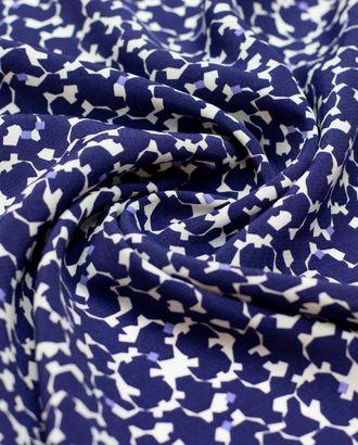 Креп белого цвета, абстракция синего цвета арт. ГТ-4425-1-ГТ-18-5916-16-21-1