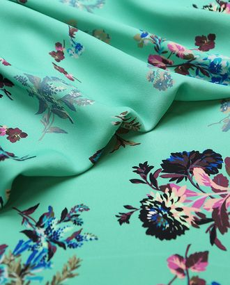 Плательно-блузочный креп с цветами на нефритовом фоне арт. ГТ-4645-1-ГТ-18-6232-10-3-1