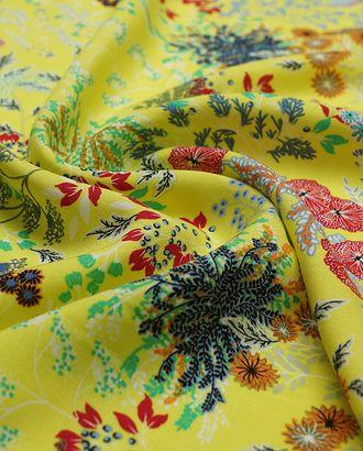Шикарный штапель с растительным принтом на лимонном фоне арт. ГТ-3586-1-ГТ0000180