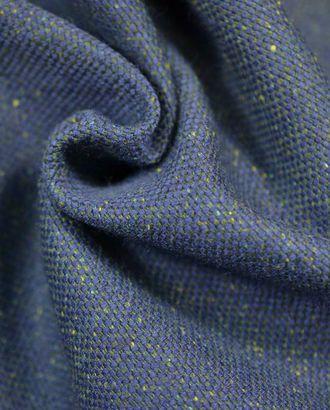 Ткань костюмная, твид, тёмно-синего цвета с жёлтым крапом арт. ГТ-17-1-ГТ0020159