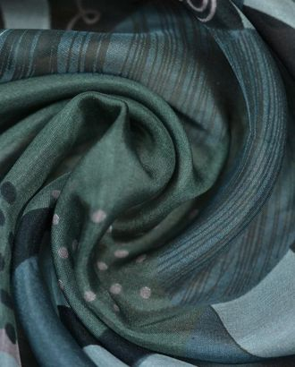 Шифон цвет на серо-зеленом фоне розово-черные крупные цветы арт. ГТ-34-1-ГТ0020217