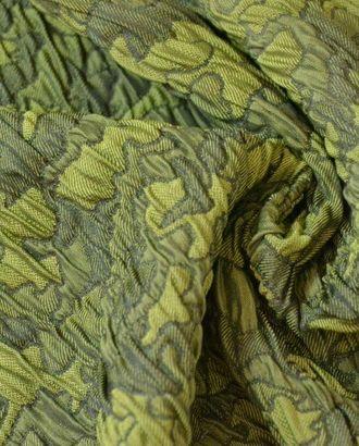 Ткань жаккард, цвет: абстрактные фигуры зелено-оливкового цвета с эффектом сжатости арт. ГТ-80-1-ГТ0020475