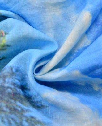 Ткань льняная ,цвет: голубые облака, купонный принт Майами арт. ГТ-92-1-ГТ0020552