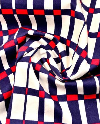 Ткань хлопковая костюмная, цвет: на белом фоне клетка темно-синего и вишневого цвета арт. ГТ-93-1-ГТ0020560