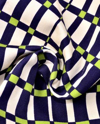 Ткань хлопковая костюмная, цвет: на белом фоне клетка темно-синего и зеленого цвета арт. ГТ-94-1-ГТ0020561