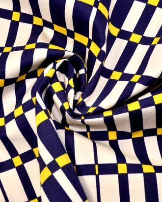 Ткань хлопковая костюмная, цвет: на белом фоне клетка темно-синего и желтого цвета арт. ГТ-95-1-ГТ0020562