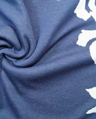 Синий жаккардовый трикотаж с бежевыми розами раппорт 1,1м арт. ГТ-106-1-ГТ0020648