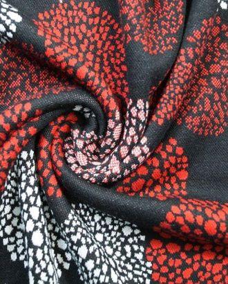 Ткань трикотажная жаккардовая, цвет: на черном фоне красная и белая мозаика в кругах арт. ГТ-109-1-ГТ0020662