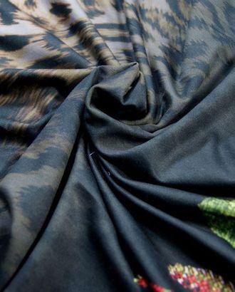 Ткань трикотаж плательный с каймой, цвет: шкура леопарда на белом переходящая в цветочную композицию арт. ГТ-117-1-ГТ0020711