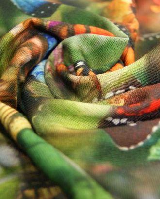 Ткань трикотажная, цвет: на зеленом акварельном фоне великолепные экзотические бабочки арт. ГТ-125-1-ГТ0020741