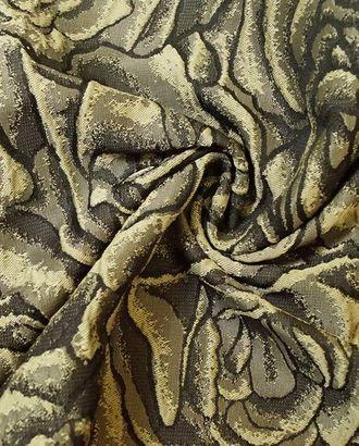 Ткань жаккард, цвет: на коричневом фоне объемные розы пастельного оттенка арт. ГТ-145-1-ГТ0020868