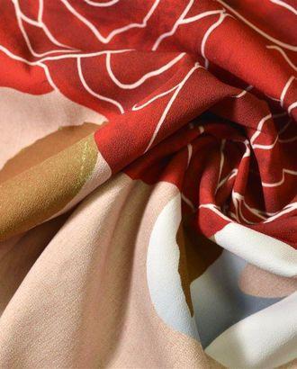 Бежево-розовая плательная ткань с принтом из ярко-красных роз с надписью(Раппорт 1,85м.) арт. ГТ-153-1-ГТ0020942