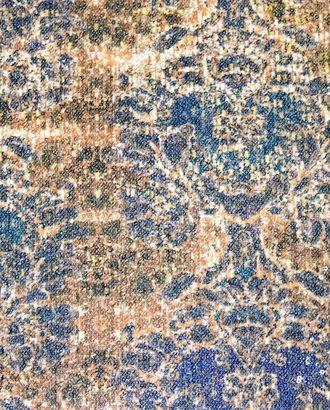 Ткань плательная с пайетками, цвет: на коричневом фоне серо-синие цветы арт. ГТ-186-1-ГТ0021184