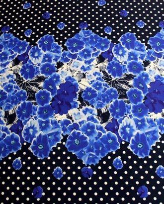 Ткань плательная, цвет: на темно-синем фоне белый горох с синими корсетными цветами в середине арт. ГТ-189-1-ГТ0021214