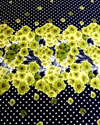 Ткань плательная,цвет:на темно синем фоне белый горох с желто-зелеными корсетными цветами в середине арт. ГТ-190-1-ГТ0021215