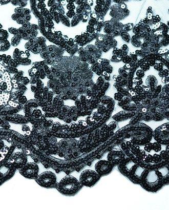 Ткань гипюр вышитая гладью с пайетками, чёрная ночь арт. ГТ-203-1-ГТ0021332