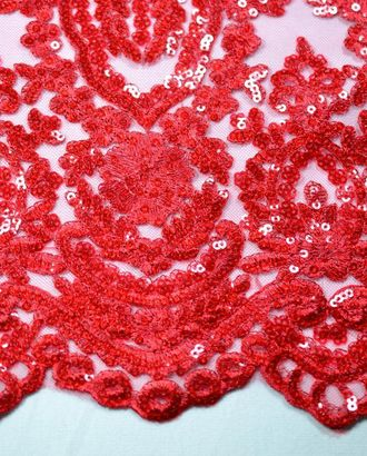 Ткань гипюр вышитая гладью с пайетками, красный цвет победы арт. ГТ-206-1-ГТ0021336