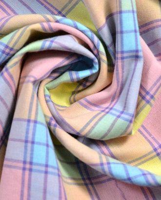 Ткань штапель, цвет: розово-желтая с голубыми нежная клетка арт. ГТ-211-1-ГТ0021474