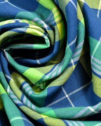 Ткань штапель, цвет: сине-зеленая с желтым клетка арт. ГТ-212-1-ГТ0021475