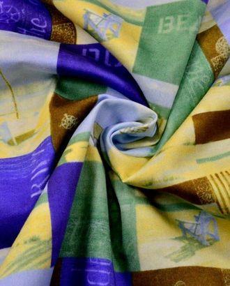 Ткань хлопок, цвет: желто-синий с коричневым, голубой кораблик арт. ГТ-222-1-ГТ0021493