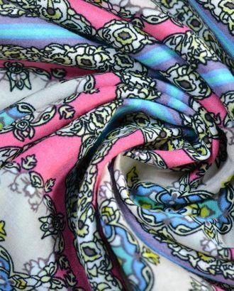 Ткань штапель, цвет: розово-голубая диагональная клетка с оригинальным узором внутри арт. ГТ-277-1-ГТ0021603
