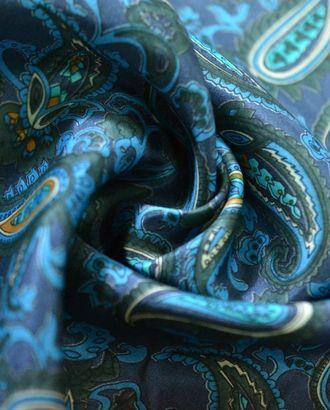 Ткань подкладочная шелковая, цвет: на темно-синем фоне мелкий огуречный рисунок арт. ГТ-300-1-ГТ0021662