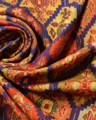 Ткань трикотажная, цвет: в фиолетовых ромбах домотканые узоры арт. ГТ-311-1-ГТ0021682