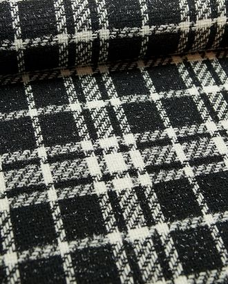 Ткань пальтовая, цвет: черно-белая клетка с люрексом арт. ГТ-314-1-ГТ0021715