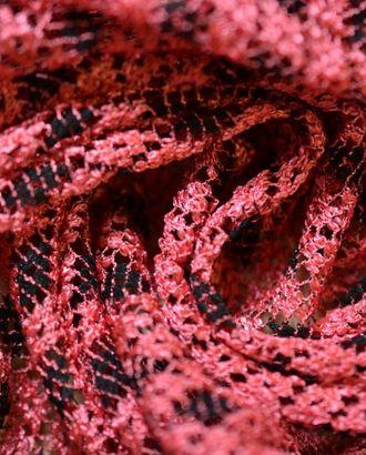 Гипюр, на розовой сетке черные ромбы арт. ГТ-365-1-ГТ0021809