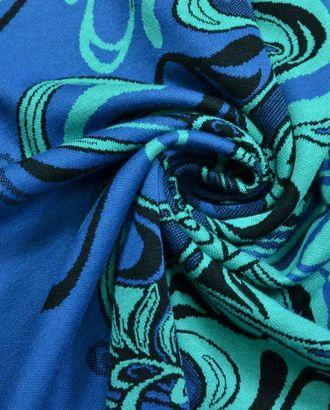 Ткань трикотажная жаккардовая , цвет: на синем фоне бирюзовые цветы арт. ГТ-369-1-ГТ0021832