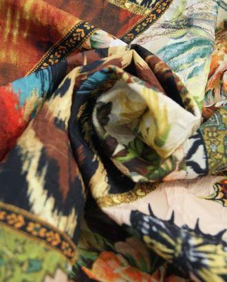 Ткань жаккард, цвет: на бежево-коричневом лоскутные геометрические мотивы с цветами и бабочками арт. ГТ-371-1-ГТ0021835