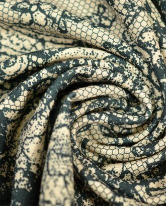 Ткань трикотажная, цвет: на бежевом фоне черный кружевной рисунок арт. ГТ-373-1-ГТ0021837