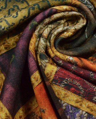 Ткань плательная трикотажная, цвет: оригинальная лоскутная тема в оранжево-фиолетовых тонах арт. ГТ-375-1-ГТ0021839