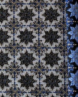 Ткань жаккард, цвет: на черном фоне голубые снежинки арт. ГТ-412-1-ГТ0021906