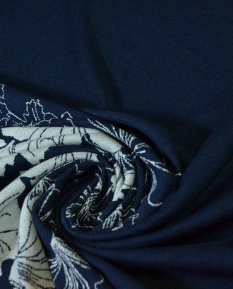 Ткань трикотажная вискозная, цвет: на темно-синем фоне крупные белые цветы арт. ГТ-420-1-ГТ0021915