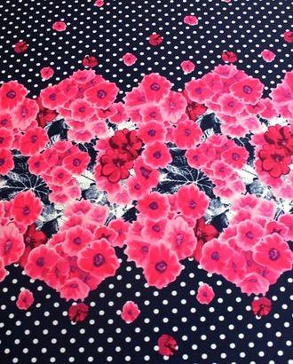 Ткань плательная, цвет: на темно синем фоне белый горох с розовыми корсетными цветами в середине арт. ГТ-435-1-ГТ0021952