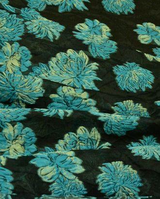 Жаккардовая ткань, лазурные цветы на ночном небе арт. ГТ-454-1-ГТ0022931