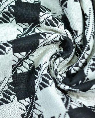 Ткань костюмная, цвет: на молочном фоне красивая черная гусиная лапка арт. ГТ-480-1-ГТ0022993
