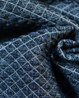 Ткань трикотажная стеганная, цвет: сине-серый с белой стежкой арт. ГТ-489-1-ГТ0023012
