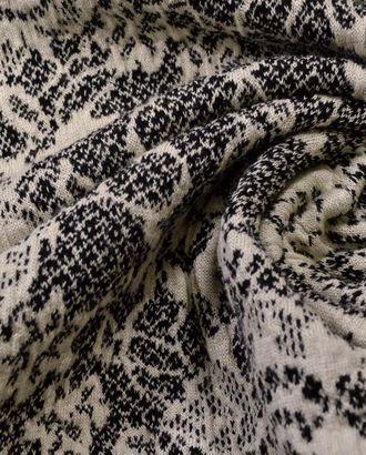 Ткань трикотажная вискозная, цвет: черно-молочный кружевной орнамент арт. ГТ-493-1-ГТ0023016