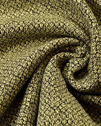 Ткань трикотажная вискозная, цвет: на лимонном фоне изящная черная сеточка арт. ГТ-495-1-ГТ0023018